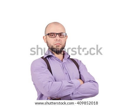 Portrait of bald with a beard young man in lilac shirt  adjusting his suspenders  at camera while standing isolated on white       - stock photo