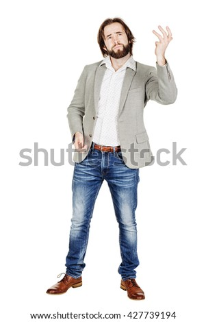portrait of bearded business man talking during presentation and using hand gestures. emotions, facial expressions, feelings, body language, signs. image on a white studio background. - stock photo
