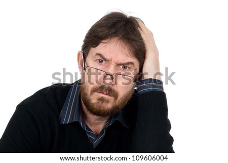 Portrait of bearded man wearing glasses about amazement looking in chamber.Isolated on a white background - stock photo