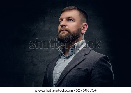 Portrait of bearded middle age male dressed in a woolen suit isolated on grey vignette background.