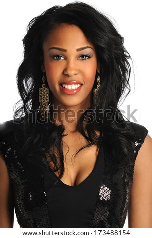 Portrait of beautiful African American woman in black dress isolated over white background - stock photo