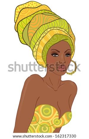 Portrait of beautiful African American woman in turban - stock photo