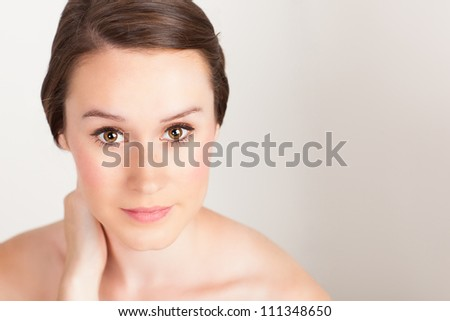 Portrait of beautiful and elegant young Caucasian female - stock photo