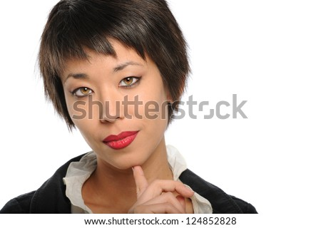 Portrait of beautiful Asian American businesswoman isolated over white background - stock photo