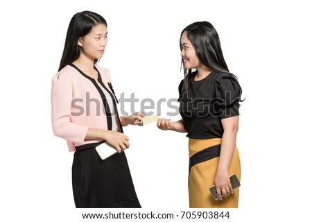 portrait of beautiful asian business woman exchange a blank business card. Isolated on white background with copy space and clipping path
