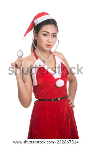 Portrait of beautiful Asian girl(Asian woman) wearing Santa Claus clothes,Santa girl,Christmas girl,x-mas,winter,woman with stethoscope,isolated on white background - stock photo
