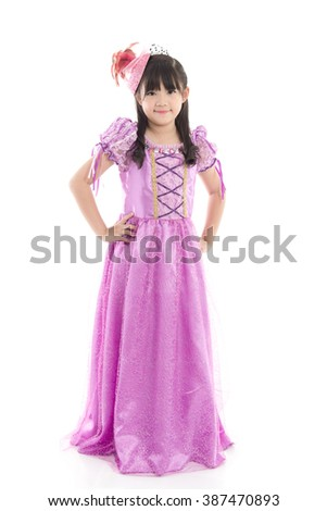 Portrait of Beautiful Asian girl in princess dress on white background isolated