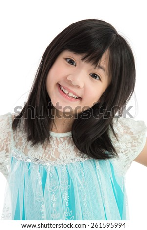 Portrait of Beautiful asian girl on white background isolated - stock photo