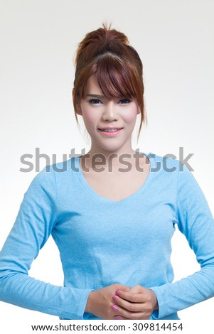 Portrait of beautiful asian woman happy and smiling - stock photo