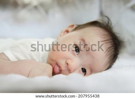 Portrait of beautiful baby - stock photo
