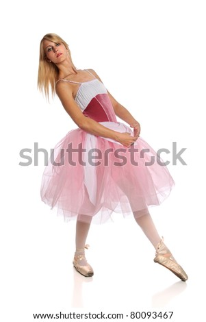 Portrait of beautiful ballerina dancing isolated over white background