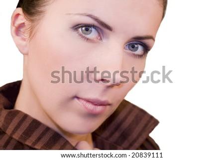 portrait of beautiful black hair girl 2 - stock photo