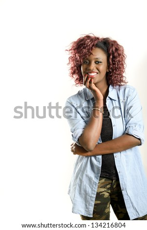 Portrait of beautiful black woman on white background. Red hairstyle Studio shot - stock photo