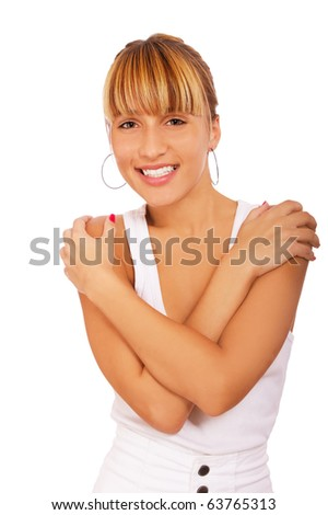 portrait of beautiful blond girl posing on white - stock photo