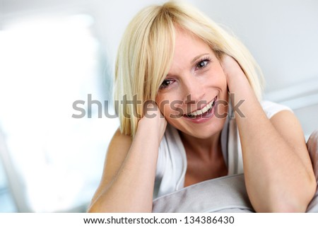 Portrait of beautiful blond woman - stock photo