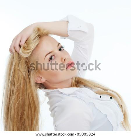 portrait of beautiful blond woman  posing on white. - stock photo