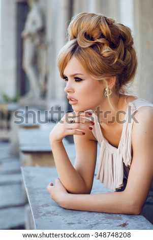 Portrait of Beautiful Blond Woman with Long Hair and Clean Skin. Brigitte Bardot look - stock photo