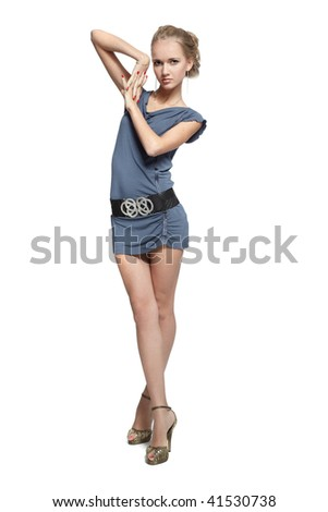 portrait of beautiful blonde blue-eyed girl - stock photo