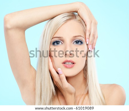portrait of beautiful blonde girl with healthy skin - stock photo