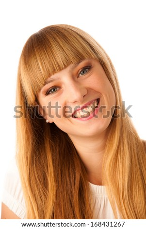 Portrait of beautiful blonde teenage girl isolated over white