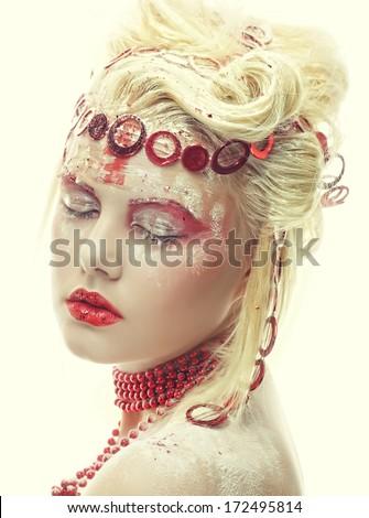 Portrait of beautiful blonde winter snow queen  - stock photo