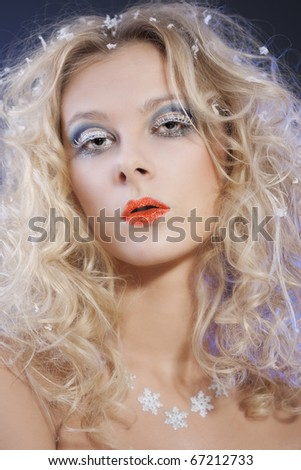 Portrait of beautiful blonde with winter make-up