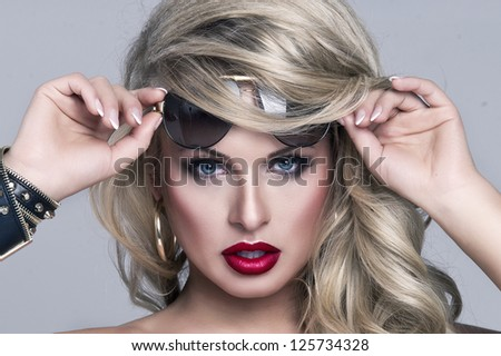 Portrait of beautiful blonde woman - stock photo