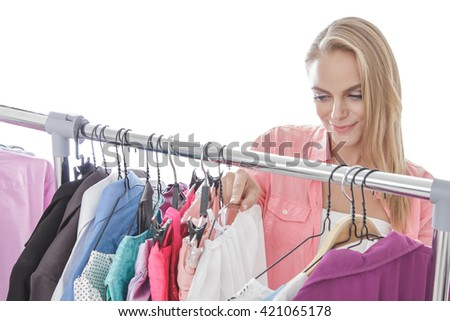 portrait of beautiful blonde woman shopping clothes isolated on white background