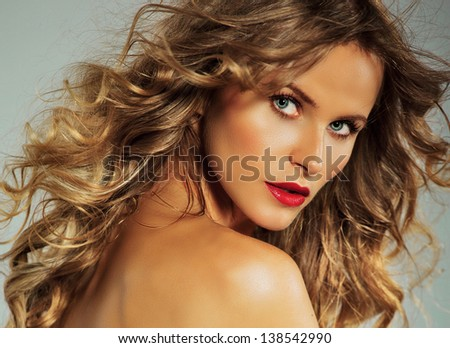 portrait of beautiful blonde woman with red lipstick. horizontal - stock photo