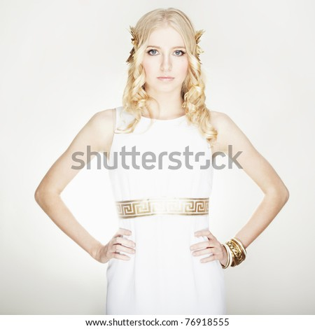 Portrait of beautiful blondie woman greek styled. isolated on white