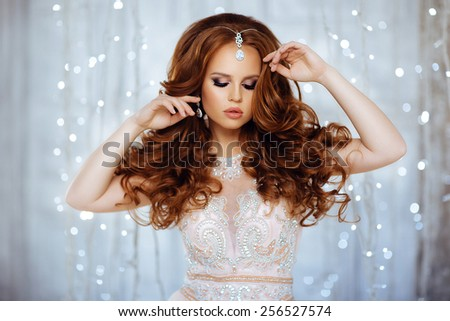 Portrait of Beautiful Bride in Magic Lights - stock photo