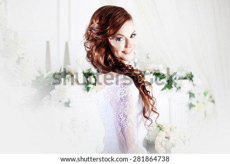 Portrait of beautiful bride. Wedding dress. Decoration - stock photo