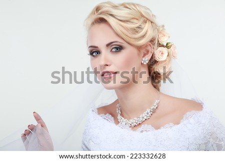 Portrait of beautiful bride. Wedding dress. Wedding decoration - stock photo