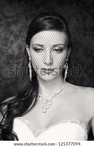 Portrait of beautiful bride. Wedding dress. Wedding decoration. Black and white - stock photo