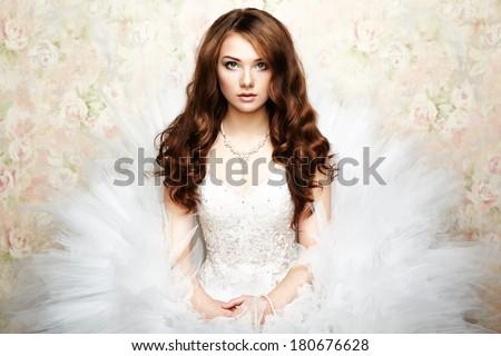 Portrait of beautiful bride. Wedding dress. Wedding photo - stock photo