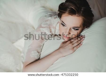 Portrait Beautiful Bride Fashion Veil Posing Stock Photo
