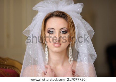 portrait of beautiful bride with veil  - stock photo