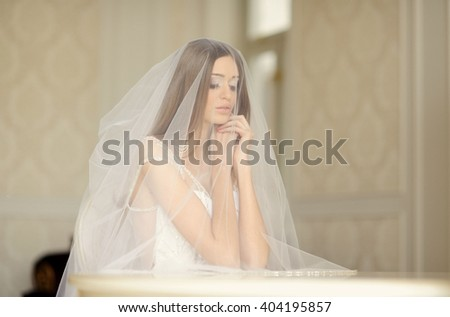 portrait of beautiful bride with veil