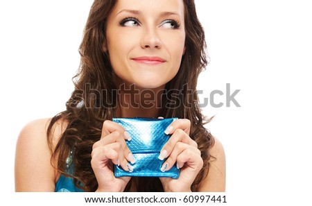 portrait of beautiful brown-haired girl with wallet on white - stock photo