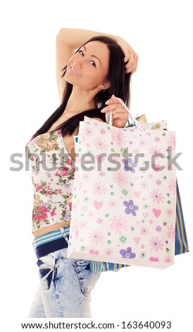 Portrait of beautiful brunette girl going to shopping, isolated on white background.