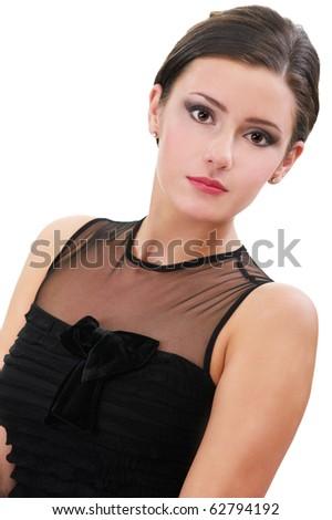 portrait of beautiful brunette girl posing in black cocktail dress on white - stock photo