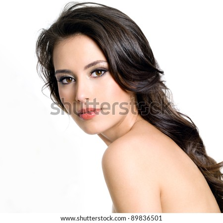 Portrait of beautiful  brunette young sexy woman on white background - stock photo