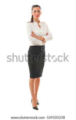 Portrait of beautiful business woman in a white shirt and grey skirt with make-up skin foundation over white background