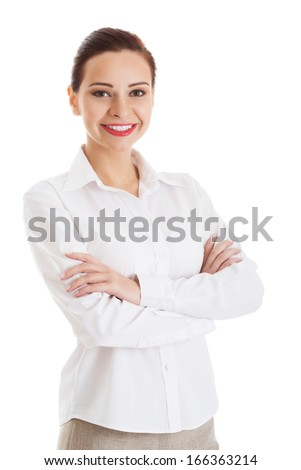 Portrait of beautiful business woman. Isolated on white.