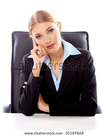 Portrait of Beautiful business woman on white background