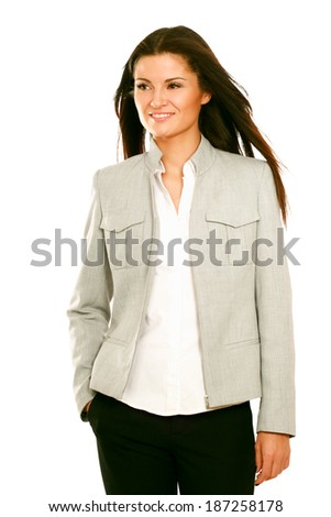 Portrait of beautiful business woman standing , isolated on white background - stock photo