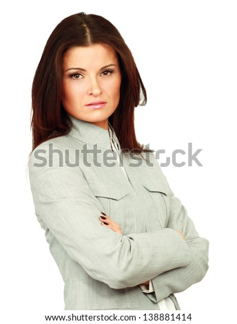 Portrait of beautiful business woman standing with folded arms, isolated on white background