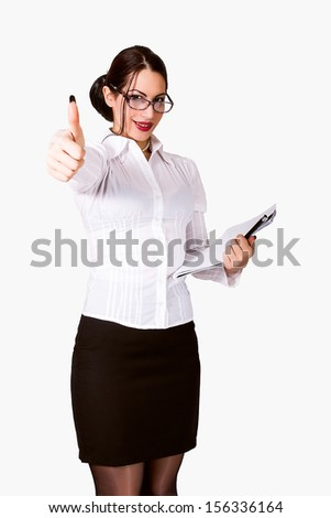 portrait of beautiful business woman with eyeglasses. thumb up - stock photo