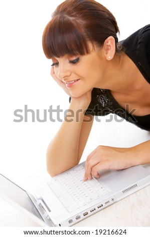 Portrait of beautiful business woman with laptop