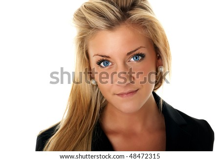 Portrait of beautiful businesswoman with blue eyes in black suit
